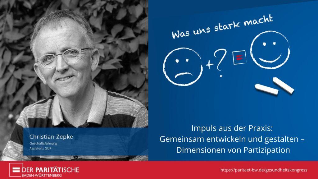 Share Pic des Gesundheitskongresses mit einem Porträtfoto von Christian Zepke und der Aufschrift: Impuls aus der Praxis: Gemeinsam entwickeln und gestalten - Dimensionen von Partizipation